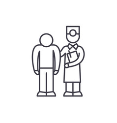 examination of the patient by the doctor line icon vector image