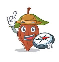 Explorer cacao bean mascot cartoon vector