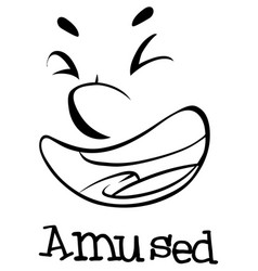 Expression wordcard with amused vector