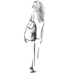 fashion of girl with a backpack vector image