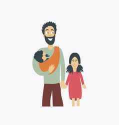 Father carryig a basling and a kid on hands vector