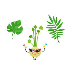 Flat summer tropical leaves celery icon vector