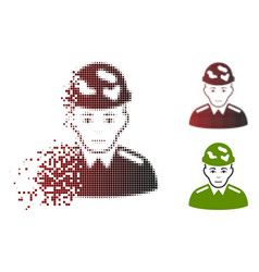 Fragmented pixel halftone soldier icon with face vector