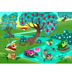 Funny animals on a river in wood vector