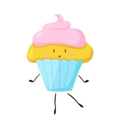 Funny fast food cupcake icon vector image