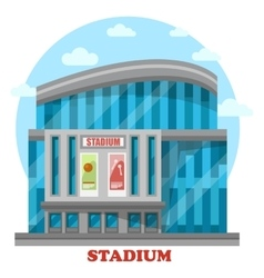 Glassware sport stadium building with posters vector