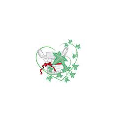 green leaves in metal bucket vector image