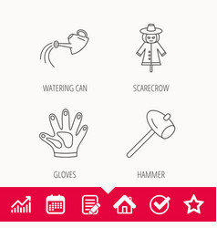 Hammer scarecrow and watering can icons vector