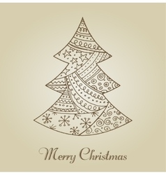 Hand drawn cute Christmas tree with doodles vector image vector image