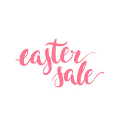Hand drawn lettering easter sale pink isolated vector