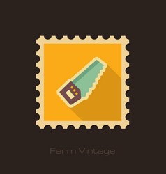 Hand saw retro flat stamp with long shadow vector