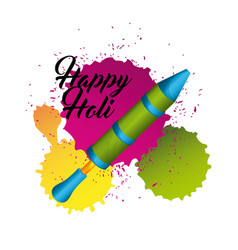 happy holi indian festival pichkari splash color vector image