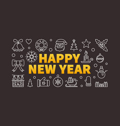 happy new year horizontal concept outline vector image