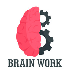 Hard brain work logo flat style vector
