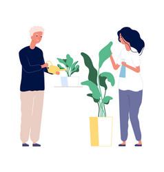 home garden man woman caring plants green house vector image