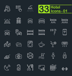 hotel and hotel services outline icons vector image