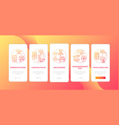 how social media addiction works onboarding vector image