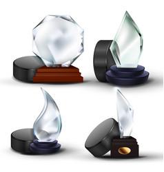 ice hockey game award set puck glass vector image