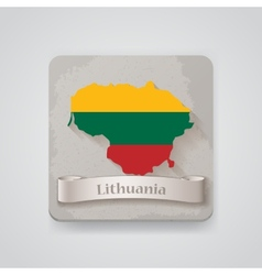 Icon of lithuania map with flag vector