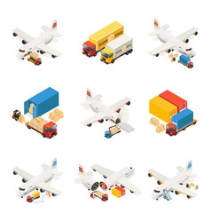 Isometric air logistics elements collection vector