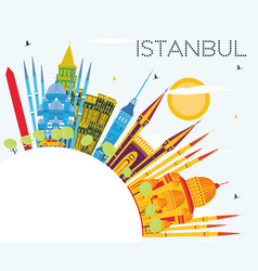 istanbul turkey city skyline with color buildings vector image