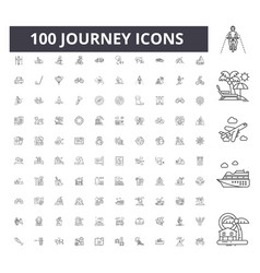 journey line icons signs set outline vector image