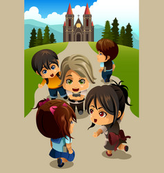Kids going to church vector