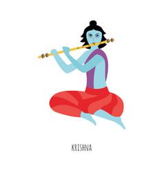 krishna indian lord cartoon character playing vector image
