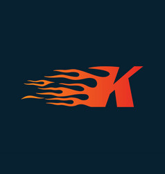Letter k flame logo speed logo design concept vector
