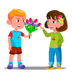 Little boy gives the flowers to the little girl vector