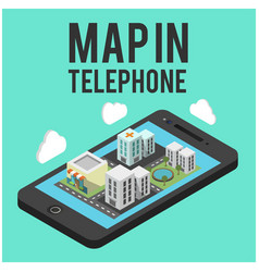 map in telephone mobile background image vector image