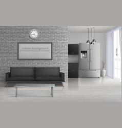 modern living room interior 3d mockup vector image