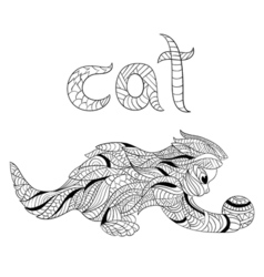 Monochrome hand drawn entangle cat coloring vector