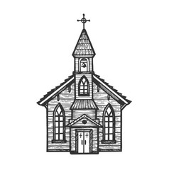 Old wooden church engraving style vector