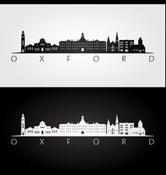 oxford ohio skyline and landmarks silhouette vector image