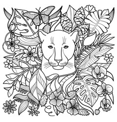 Panther coloring page vector