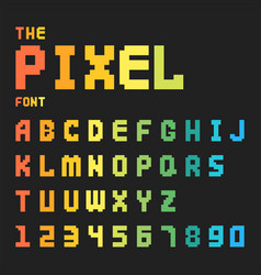 Pixel retro font video computer game design 8 bit vector