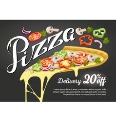Pizza slice for advertising design vector