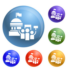 political election meeting icons set vector image