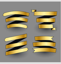 premium shiny golden ribbons set vector image