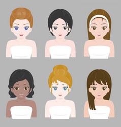 Pretty girl in various nationality and hair design vector