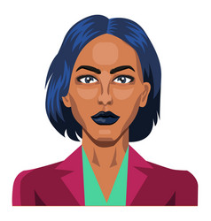 pretty girl with short blue hair on white vector image