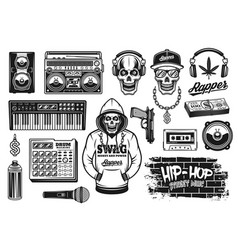 Rap and hip hop music attributes objects vector