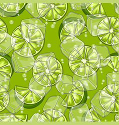 seamless pattern with limes ice cubes and soda vector image