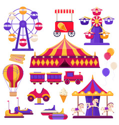 set amusement park elements on white vector image