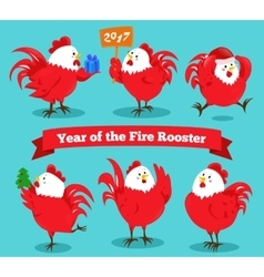 Set cartoon chinese zodiac fire rooster vector