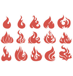 set flame a collection stylized vector image