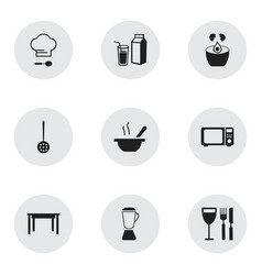 Set of 9 editable kitchen icons includes symbols vector