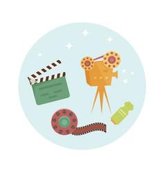 set of cartoon cinema icons vector image