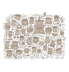 set of coffee doodle vector image